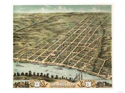 Clarksville, Tennessee - Panoramic Map by Lantern Press