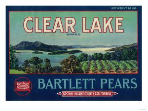 Clear Lake Pear Crate Label - Lake County, CA by Lantern Press