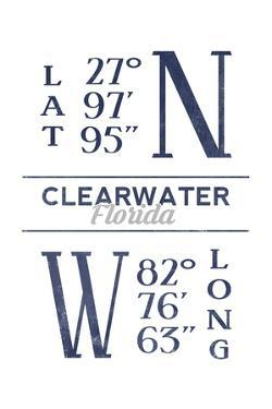 Clearwater, Florida - Latitude and Longitude (Blue) by Lantern Press