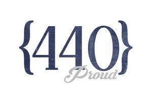Cleveland, Ohio - 440 Area Code (Blue) by Lantern Press
