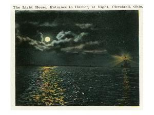 Cleveland, Ohio - Lighthouse, Harbor Entrance from Ocean at Night by Lantern Press