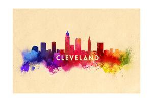 Cleveland, Ohio - Skyline Abstract by Lantern Press