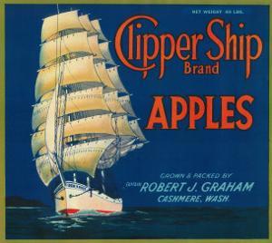 Clipper Ship Apple Label - Cashmere, WA by Lantern Press