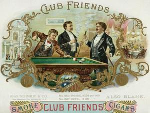 Club Friends Brand Cigar Box Label, Billards by Lantern Press
