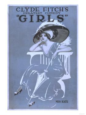 """Clyde Fitch's Greatest Comedy, """"Girls"""" Theatre Poster No.2 by Lantern Press"""