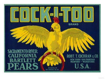Cock-I-Too Pear Crate Label - Sacramento Valley, CA by Lantern Press