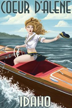 Coeur D'Alene, Idaho - Boating Pinup Girl by Lantern Press
