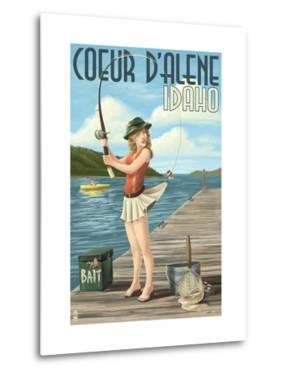 Coeur D'Alene, Idaho - Fishing Pinup Girl by Lantern Press