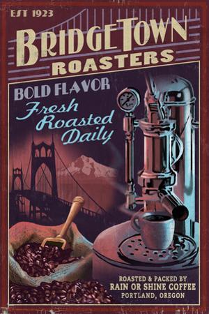 Coffee Roasters Vintage Sign - Portland, Oregon by Lantern Press