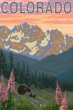 Colorado - Bears and Spring Flowers by Lantern Press