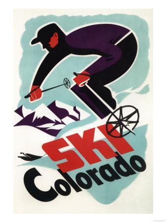 Colorado - Black and Purple Clothed Skier Skiing Colorado Poster by Lantern Press