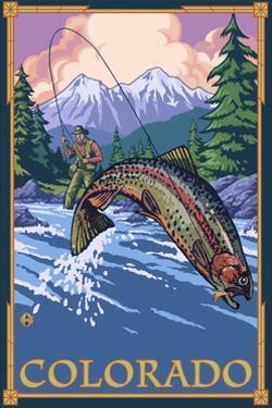 Colorado - Fisherman by Lantern Press