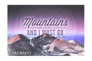 Colorado - John Muir - the Mountains are Calling - Sunset - Circle by Lantern Press