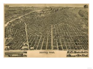 Colorado - Panoramic Map of Denver No. 3 by Lantern Press