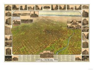Colorado - Panoramic Map of Denver No. 5 by Lantern Press
