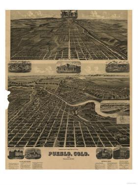 Colorado - Panoramic Map of Pueblo by Lantern Press