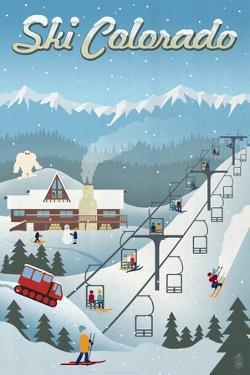 Colorado - Retro Ski Resort by Lantern Press