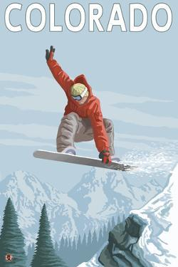 Colorado, Snowboarder Jumping by Lantern Press
