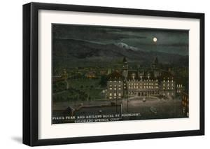 Colorado Springs, Colorado - Exterior View of the Antlers Hotel at Night, Pikes Peak, c.1914 by Lantern Press