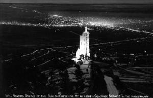Colorado Springs, Colorado - Will Rogers Shrine of the Sun on Cheyenne Mt at Night by Lantern Press