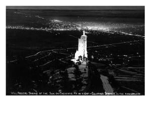 Colorado Springs, Colorado - Will Rogers Shrine of the Sun on Cheyenne Mt at Night by Lantern Press