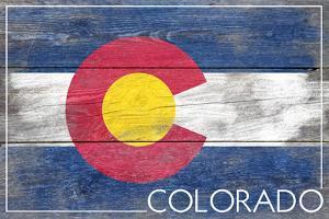 Colorado State Flag - Barnwood Painting by Lantern Press