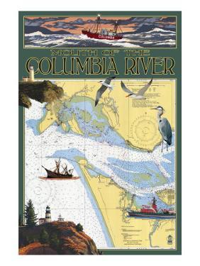 Columbia River Chart & Views by Lantern Press