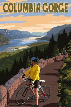 Columbia River Gorge - Bicycle Scene by Lantern Press