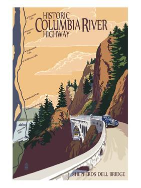 Columbia River Gorge, Oregon - Historic Columbia River Highway by Lantern Press