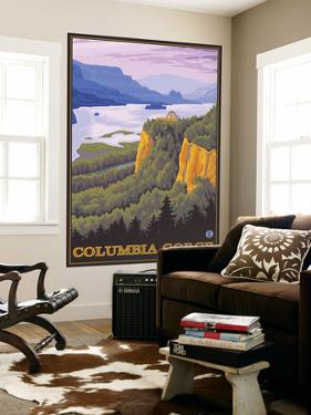 Columbia River Gorge Scene with Crown Point by Lantern Press