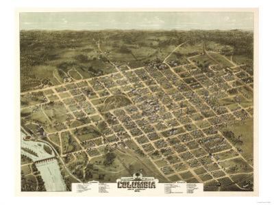 Columbia, South Carolina - Panoramic Map