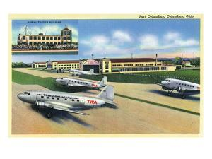 Columbus, Ohio - Landed Twa Planes at Port Columbus by Lantern Press