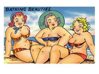 Comic Cartoon - Busty Bathing Beauties by Lantern Press