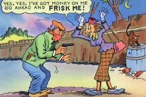 Comic Cartoon - Dirty Old Lady Wants Robber to Frisk Her by Lantern Press