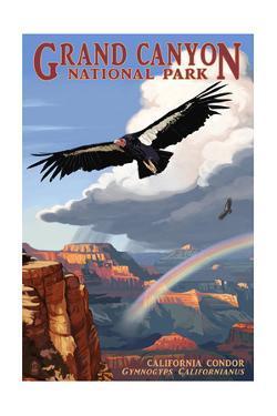 Condor and Rainbow - Grand Canyon National Park by Lantern Press