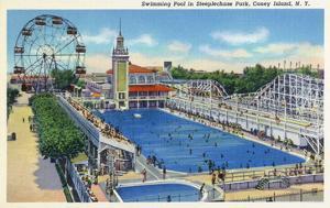 Coney Island, New York - Steeplechase Park Swimming Pool View by Lantern Press