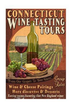 Connecticut - Wine Tours Vintage Sign by Lantern Press