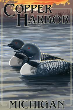 Copper Harbor, Michigan - Loon Family by Lantern Press
