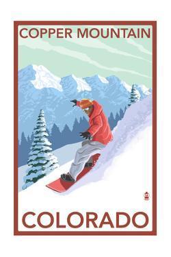 Copper Mountain, Colorado - Downhill Snowboarder by Lantern Press