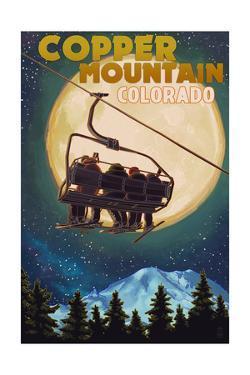 Copper Mountain, Colorado - Ski Lift and Full Moon by Lantern Press