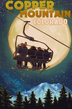 Copper Mountain, Colorado - Ski Lift and Full Moon by Lantern Press