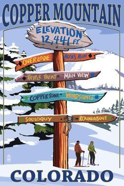 Copper Mountain, Colorado - Ski Signpost by Lantern Press