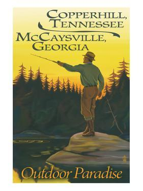 Copperhill, TN and McCaysville, GA - Fisherman Scene by Lantern Press