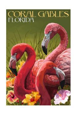 Coral Gables, Florida - Flamingos by Lantern Press