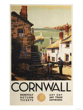 Cornwall, England - Street Scene with Two Men Working Railway Poster by Lantern Press