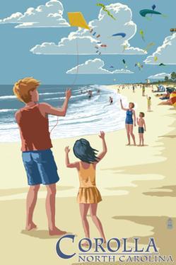 Corolla, North Carolina - Kite Flyers by Lantern Press
