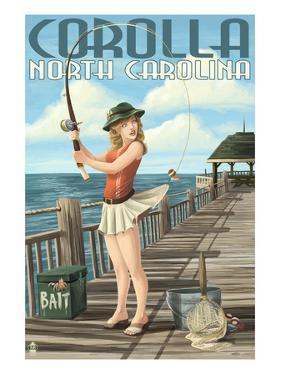 Corolla, North Carolina - Pinup Girl Fishing by Lantern Press
