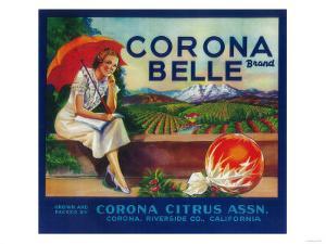 Corona Belle Orange Label - Corona, CA by Lantern Press