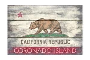 Coronado Island, California - Barnwood State Flag by Lantern Press