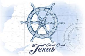 Corpus Christi, Texas - Ship Wheel - Blue - Coastal Icon by Lantern Press